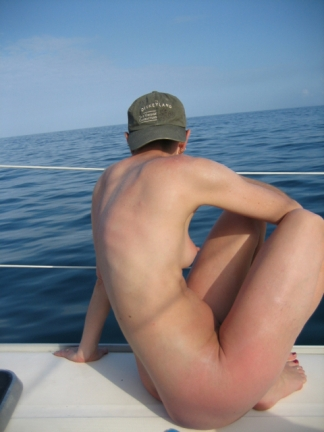 Watching diligently for the moment to jump overboard!