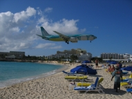 Watching the planes land at Sunset Beach Bar