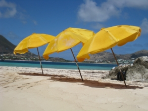 The quintessential yellow umbrellas