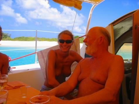 Tiko Tiko's first mate Flo, and a nice guy enjoying the day!